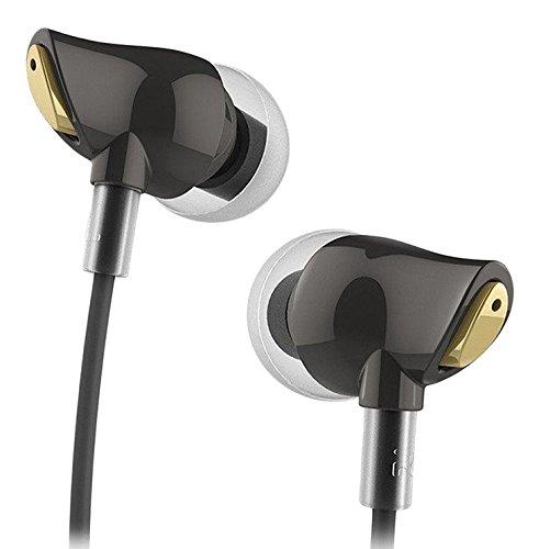 In Ear Kopfhörer - ROCK Zircon Kopfhörer In Ear mit Mikrofon und Fernbedienung, HiFi Kopfhörer mit Geräuschunterdrückung, Sport Headsets Bass Stereo Ohrhörer für iOS und Android Smartphone, iPad, Laptops, Tablet (schwarz)