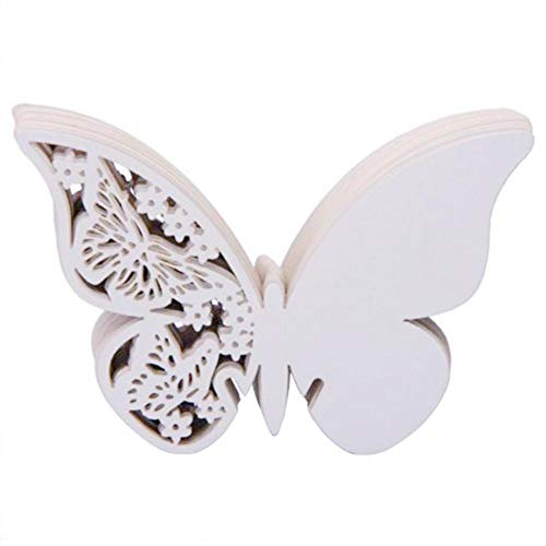 Number Place Card for Wedding Party Decorations Favors 50pcs Butterfly Wine Glass Card Escort Cup Card Table Name
