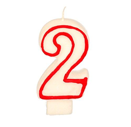 Partygram - Vela de Cumpleaños Número 2 - Blanca con Filo Rojo