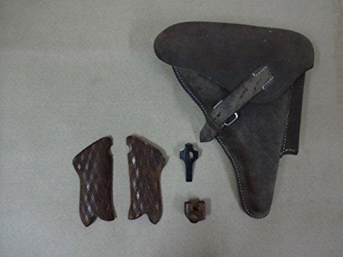 WW2 P08 Holster couleur naturelle avec poignées, outil de prise et Mag. Fond de rechange (Dia) (Reproduction)