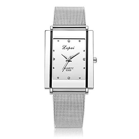 Montre bracelet en quartz pour femmes, bande de fer en acier inoxydable FeiTong diamant luxueux regarder L