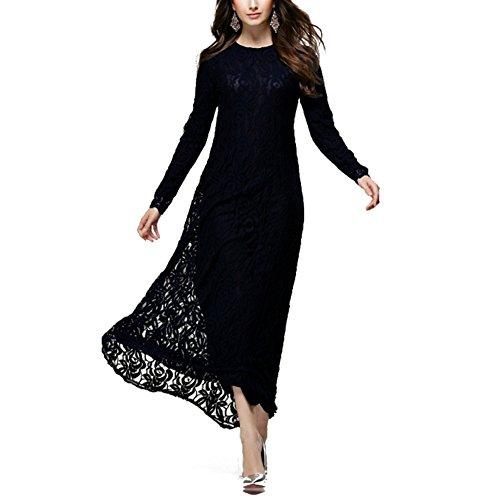 Highdas dame musulmane manches longues robe ethnique Mode féminine dentelle fine longueur de plancher robe arabe Noir