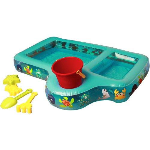 Unbekannt Aufblasbarer Spieltisch für Sand und Wasser mit viel Zubehör, 80x65 cm (Aufblasbarer Sand)