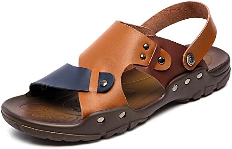 Zapatos de hombre Sandalias con remaches de cuero genuino Playa Verano Punta abierta Pull on Slipper Transpirable...