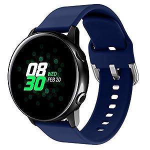 Bloodfin für Samsung Galaxy Watch Active Armband, Sport Silikon Uhrenarmband Weiches Ersatzband Sport Zubehörteil Einstellbare Schnellverschluss Armbänder Klein & Groß Damen & Herren