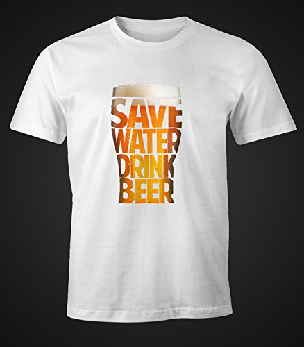 Herren T-Shirt - Save Water drink Beer - Spare Wasser trinke Bier - Moonworks Weiß