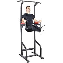 Ultrasport Power Tower, station de musculation pour un entraînement varié à la maison, tour de musculation, Gymtower, Dip Station, barre de traction, poignées, réglable, noir