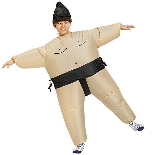 WHALLO Aufblasbares Kostüm Sumo-Ringen Fat Suit Blow Up Abendkleid Lustige Kostüm Halloween für Kinder-Blow Up (Schwarz Aufblasbare Lustige Kostüm)
