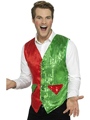 Luxuspiraten - Herren Männer Kostüm Kobold Elfen Kostüm Weste mit Pailetten, Sequin Elf Waistcoat, perfekt für Weihnachten Karneval und Fasching, XL, Rot