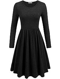 Parabler Damen Skaterkleid Rundhals Basic Kleider Herbst Kleid Partykleid A Linie Langarmkleider Freizeitkleid Causualkleid Ausgestelltes Knielang