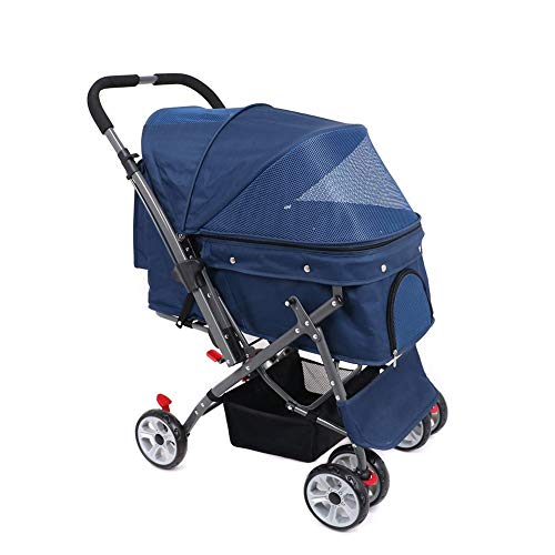 Kinderwagen Kinderwagen Pet Travel Kinderwagen Pram Jogger Buggy für Hunde Stoßfest Langlebig Verstellbare Richtung, EIN-klick-Falten, Schnelle Installation, Geeignet für die Reise (Farbe : Blau)