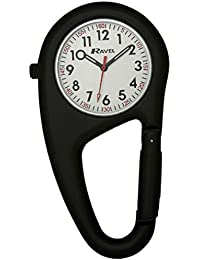 Ravel Unisex-Armbanduhr Ravel Matt Black Belt Clip Watch.Fully Secure to Fit on your Belt or Backpack. Analog Edelstahl Schwarz R1105.03B