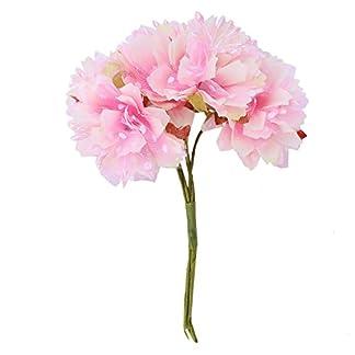 Cikuso 6pzs 4cm Flor Clavel Artificial Ramo de Flores de Seda de estambre para la Decoracion de la Boda DIYAlbum de Recortes Flor Falsa Rosado