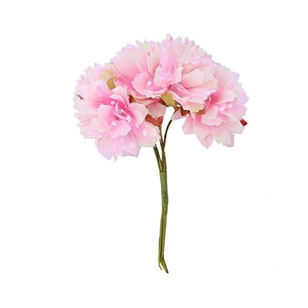 Cikuso 6pzs 4cm Flor Clavel Artificial Ramo de Flores de Seda de estambre para la Decoracion de la Boda DIYAlbum de…