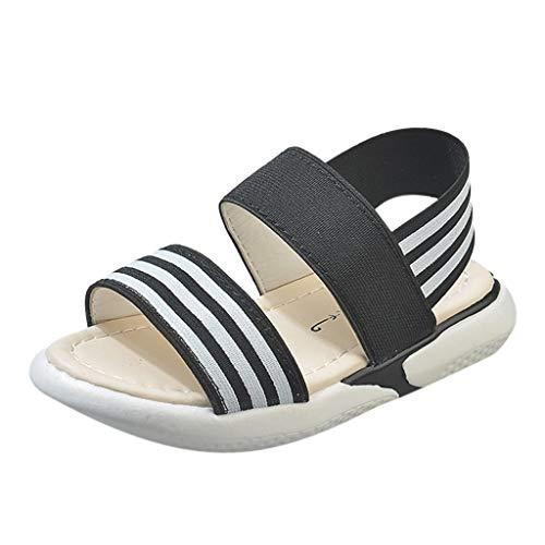 Kobay 2019 Sommer Baby Schuhe Kinder Baby Mädchen Rutschfeste Gestreifte Elastische Strand Schuhe Sandalen(32/8-9T,Schwarz) - 9t Schwarze Schuhe