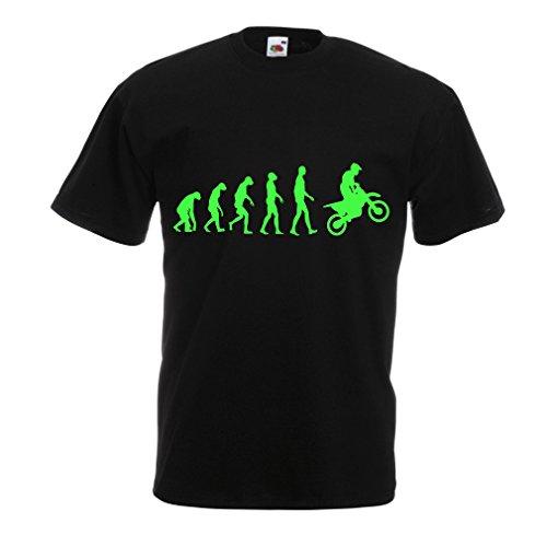lepni.me Maglietta da Uomo Evoluzione Motocross, Moto Sporca, Maglia da Moto, Abbigliamento da Corsa, Moto da Fuoristrada (X-Large Nero Verde)