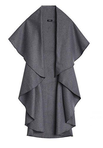 Fashion charming-cascade-Cape sans manches drapée Long Manteau Manteau ouverture de tranchées Charbon