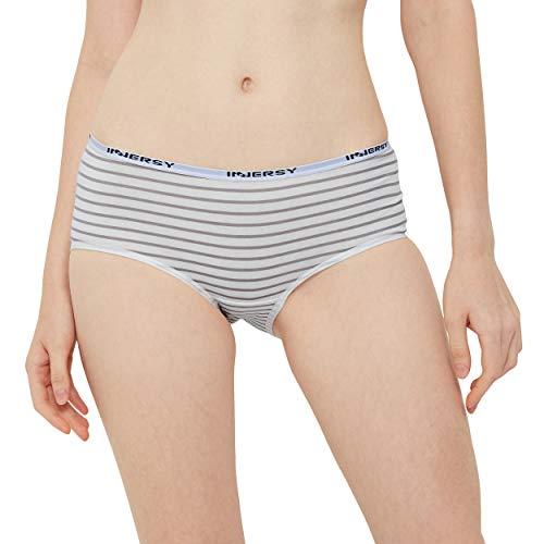 INNERSY Damen Slips Baumwolle Mehrpack Schwarz Streifen Panty Hipsters 6er Pack (46, Schwarz/Grau/Streifen) - 2