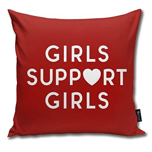 gatetop Funda de Almohada Girls Support Girls Cita Feminista Decoración Fundas de Almohada Fundas de Cojines para sofá y sofá 45x45 cm