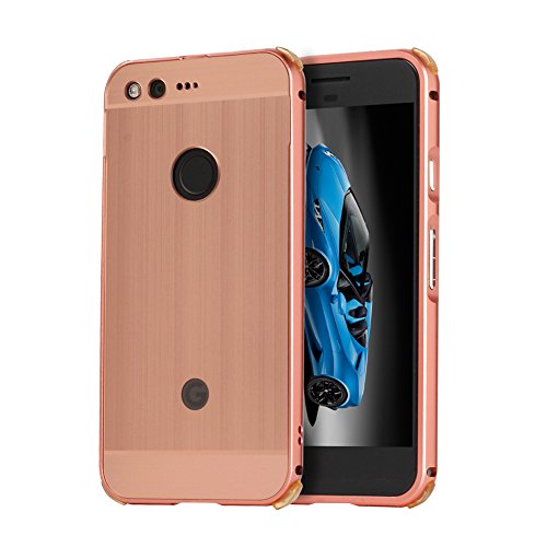 Google Pixel Case,Google Pixel Case Rose Gold Mirror,TOCASO [Luxury Scrub Frosted Mirror] Cover 2 in 1 [[Luxury Metal Aluminum Frame Bumper + PC Back Cover] Anti Shock Double Layer