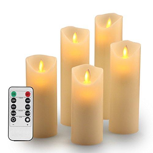 TEECOO Velas de LED sin llama Φ 2,2 'x H 5' 6' 7' 8' 9' Set de 5 pilar de cera real no plástico Con 10 teclas de control remoto temporizador 220 horas (5, marfil)