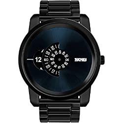 Fashion Large dial design watch dial pointer watch men's wristwatch 30m waterproof watch (Black)