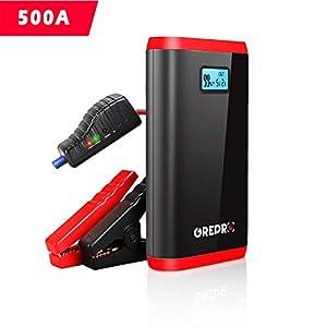 GREPRO Arrancador de Coche – 500A Arrancador Coche (hasta 4.5L Gas o 2.5L Diesel) Batería Arrancador de Coche, 3 Modos Linterna LED & Puerto USB
