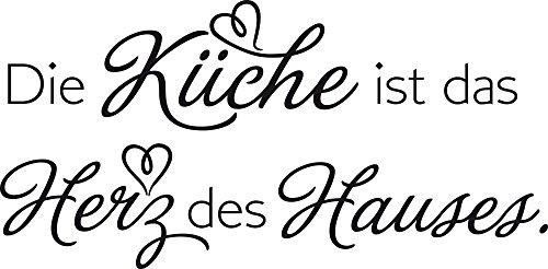 GRAZDesign Küche Aufkleber Wandzitat - Küchenbilder Die Küche ist das Herz der Hauses - Wandtattoo für Küche Küchenspruch / 81x40cm / 070 schwarz Haus Der Küche