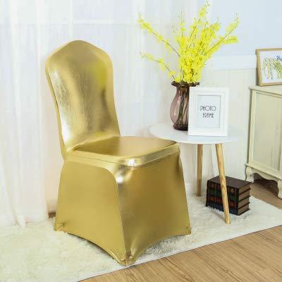 Metallic-lycra-gewebe (KSDFVJ Stuhlabdeckung Shiny Bronze Gold und Silber Lycra Stuhlabdeckung Hochzeitsdekoration Flat Front Close METALLIC Gold)