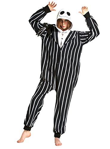 Honeystore Unisex Skelett Kostüm Erwachsene Tier Jumpsuits Onesie Pyjamas Nachthemd Nachtwäsche Cosplay Overall Hausanzug Fastnachtskostüm Karnevalskostüme Faschingskostüm Kapuzenkostüm L