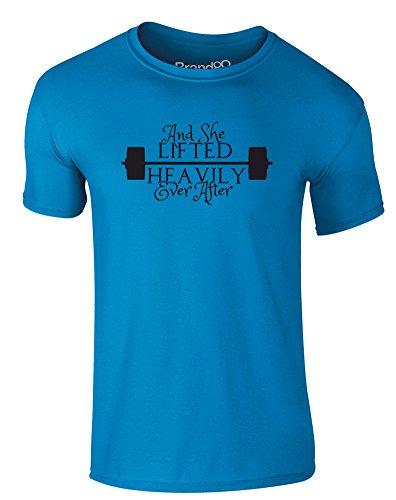 Brand88 - And She Lifted Heavily Ever After, Erwachsene Gedrucktes T-Shirt Azurblau/Schwarz