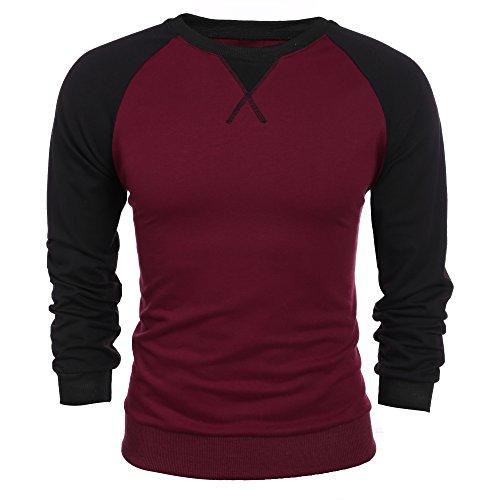 Burlady Herren Langarmshirt Sweatshirt Freizeit Sport Pullover Slim Fit T-shirt mit 2-Tone Raglan, Winerot, XL
