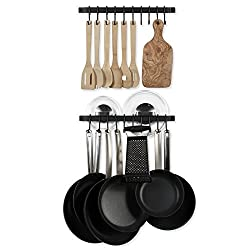 Wall Mount Hanging Utensils Industrial Iron 17 Inch Gourmet Kitchen Rail Bar Pot Pan Lid Rack with 10 Hooks Set of 2 Black
