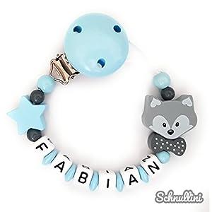  Schnullerkette mit Namen Gravur Fuchs mit Schleife Stern Geburt Taufe Geschenk Silikonring individuell Blau Grau   Junge Mädchen Namenskette