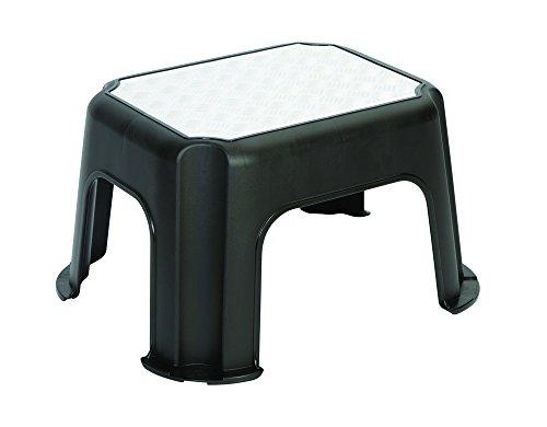 Rotho Trittschemel Paso, Tritthocker aus Kunststoff mit Metallveredelung, mit Anti-Rutsch-Noppen, bis 150 kg, GS-geprüft, schwarz, ca. 43 x 36 x 24 cm (LxBxH)