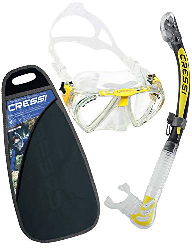 Cressi C/Set Penta + Alpha/ud Pack de Snorkel, Unisex, Transparente/Amarillo, Talla Única