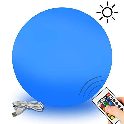 gartenkugeln led GoZheec Solarleuchte LED Solar Gartenleuchten IP68 wasserdicht Ø 25cm Solarlampen Aussenlampe solar kugelleuchten Sonnenenergie Gartenkugel USB für Schwimmbad Outdoor Garten (inkl. Fernbedienung)