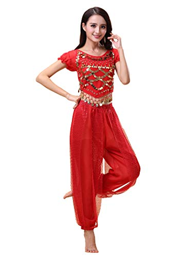Grouptap Bollywood Indian Bharatanatyam Bauchtanz rot 2-teiliges Kostüm Outfit für Frauen Mädchen Erwachsene Tänzerin (150-170cm, 30-60kg) (Rot)