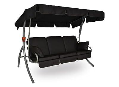 Angerer Premium Comfort Hollywoodschaukel Design Leder Schoko, Sonnendach beige, 3-Sitzer
