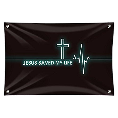 "Graphics and More Jesus Saved My Life EKG-Herzfrequenz Puls Religiöse Christian Home Business Büro Schild 22"" x 33"" Multi"