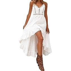 JYC Verano Falda Larga,Vestido De La Camiseta Encaje,Vestido Elegante Casual,Vestido Fiesta Mujer Largo Boda, Bohemio Cordón Fiesta Honda Ropa de Playa Vestir (L, Blanco)