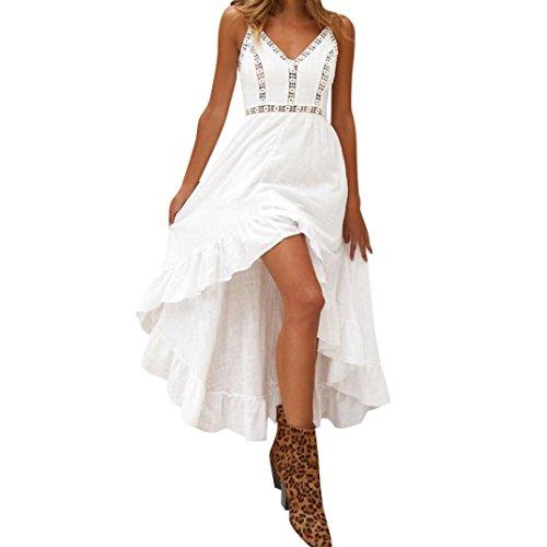 JYC Verano Falda Larga,Vestido De La Camiseta Encaje,Vestido Elegante Casual,Vestido Fiesta Mujer Largo Boda, Bohemio Cordón Fiesta Honda Ropa de Playa Vestir (M, Blanco)