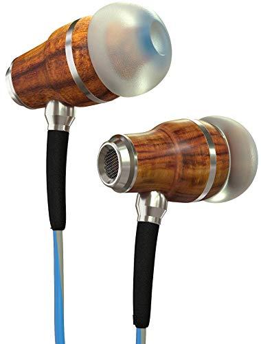 Symphonized NRG 3.0 Écouteurs Intra-Auriculaires en Bois, Isolant Le Bruit, avec contrôle du Volume et du Microphone (Bleu & Gris Nuage)