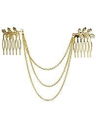 Womens Personality Golden Tone Leaf Hair Cuff Chain Comb Headband Hair Band Hot