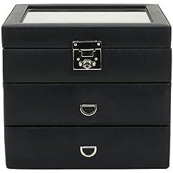 Friedrich|23 Unisex Uhrenkasten für 24 Uhren Feinsynthetik in Leder-Optik Schwarz 20541-2