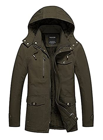 Minetom Mens Winter Casual Thicken Outdoor Military Hooded Jacket Long Sleeve Warm Cotton Zip Up Trench Coat Windbreaker Outwear Parka Army Green EU
