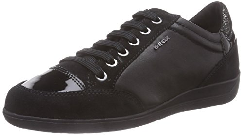 Geox D Myria E, Sneakers Hautes Femme, Noir (C9999/Scam/Vit Sint), 36 EU