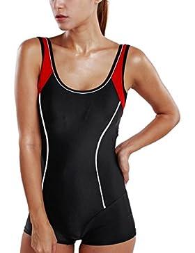 Delimira Damen Einteiler Badeanzug - Schlankheit Hotpants Bademode Schwimmanzug