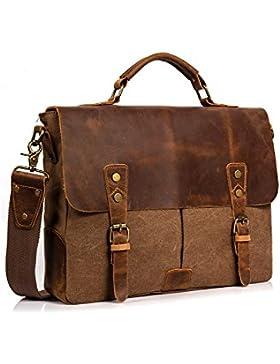 Leder Vintage Messenger Bag - 14 Zoll Canvas Umhängetasche Aktentasche Umhängetasche Laptop Tasche notebooktasche...