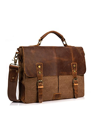Leder Vintage Messenger Bag - 14 Zoll Canvas Umhängetasche Aktentasche Umhängetasche Laptop Tasche notebooktasche aus Canvas und Leder(Kaffee) (Messenger Aktentasche Casual)
